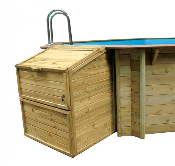 Filterkasten, Höhe 133 cm, aus Massivholz für Holzpools